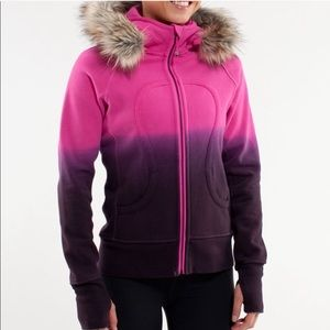 Lululemon pink/purple ombré scuba faux fur hoodie